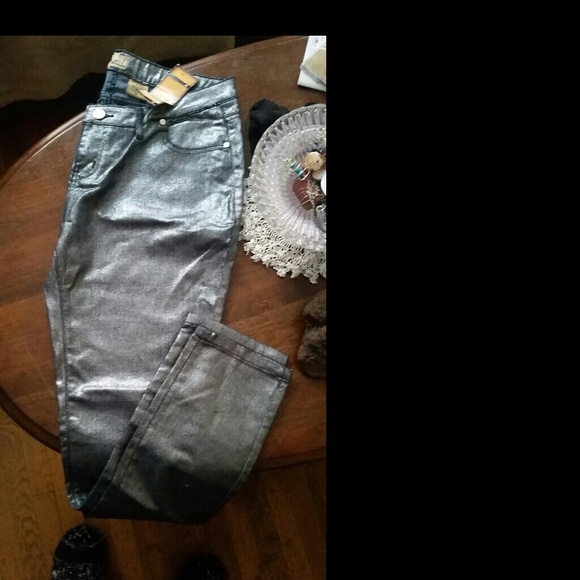 77% off Pants - NWT WOMEN'S METALLIC SILVER JEANS size 14 from ...