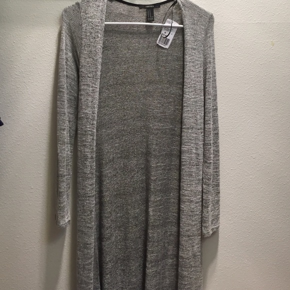 45% off forever 21 sweaters - knit grey duster cardigan (nearly