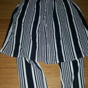 Pants - Skirt pants stripe trousers