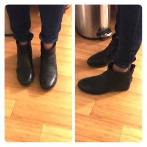 Black leather Crown Vintage ankle boots / booties