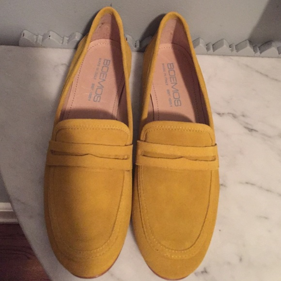 Boemos Shoes | Yellow Suede Loafers