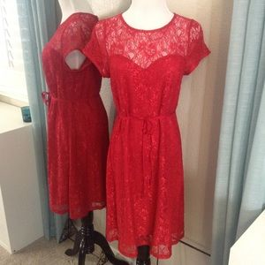 A Pea in the Pod Dresses & Skirts - Red Lace Maternity Dress