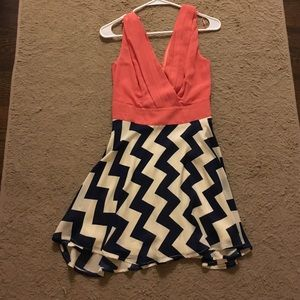 Coral and navy chevron print dress size S