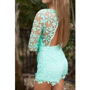 Free People Other - MINT BLUE FLOWER LACE ROMPER