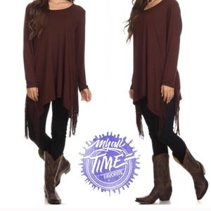 tla2 Tops - 💥HOST PICK 12/11💥SCOOP NECK FRINGE TOP