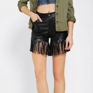 URBAN OUTFITTERS Black Vegan Leather Fringe Shorts