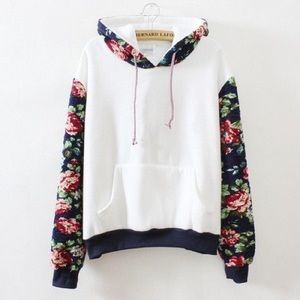 Sweaters - Floral loose hoodies