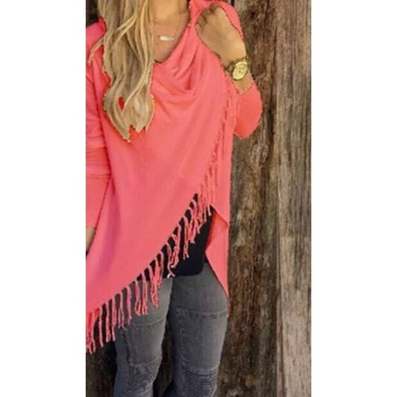 Pink Fringe Wrap Sweater