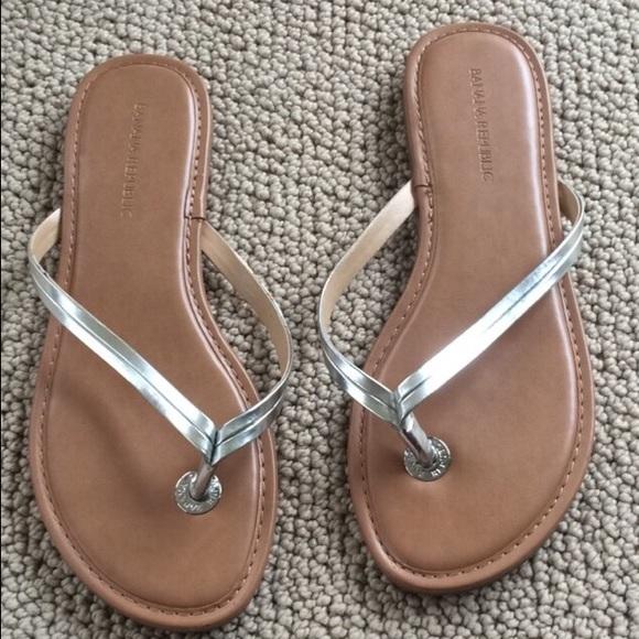 d82e221cef8b Banana Republic Shoes - Banana Republic Mazzy Silver Flip Flops