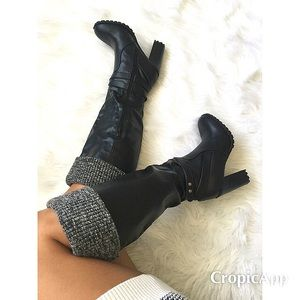 Shoes - Sweater top knee high boots