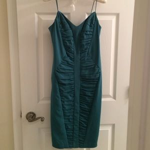 Nicole Miller ruched teal dress