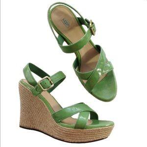 NEW UGG green espadrille wedge sandals 11