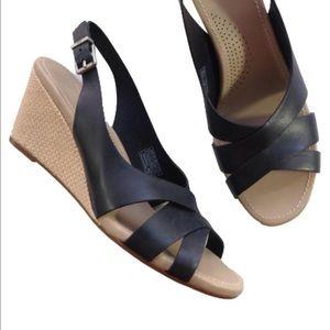 NEW UGG espadrille wedge sandals black leather 11