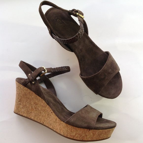 6bc71d0bea UGG Shoes | New Cork Wedge Comfort Brown Suede Sandals 11 | Poshmark