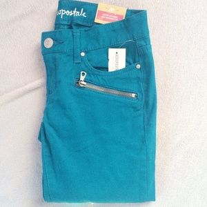 Aeropostale Pants - Teal Zippered Jeggings