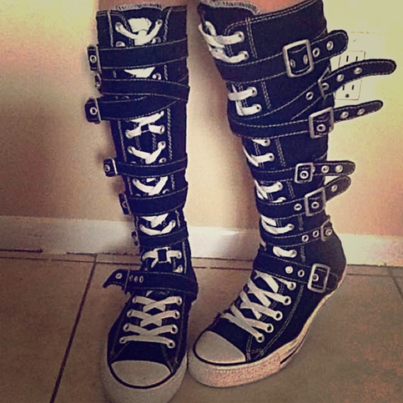01f9c70f81a7ea Converse Shoes - BLK Converse Knee High Buckle Chuck Taylor s ...