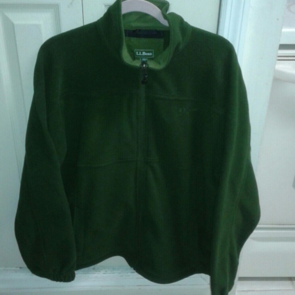 L.L. Bean - Mens Super Soft Army Green L.L.Bean Fleece Jacket from