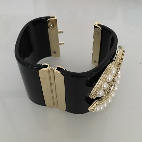 Chanel Cc Logo Chanel Black Acrylic Cuff Bracelet