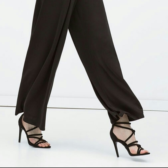Sale Zara Strappy Knotted Suede Heels