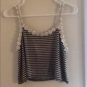 Floral trimmed striped tank top!