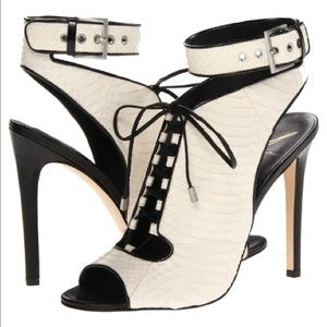B Brian Atwood Shoes - NEW BRIAN ATWOOD cream snake ankle cuff sandal 6.5