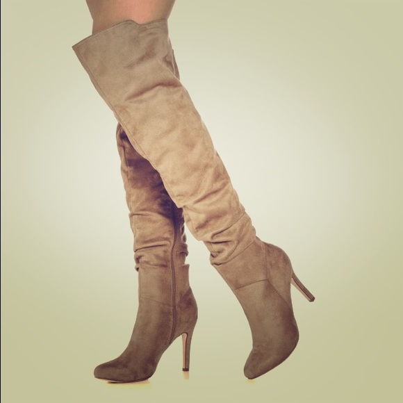 683620719a6a JustFab Shoes | Over The Knee Boots Heels Taupe New Wide Calf | Poshmark