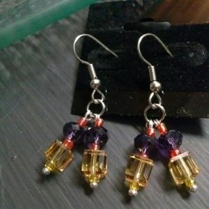 Earrings Dangle Crystal Glass Beads