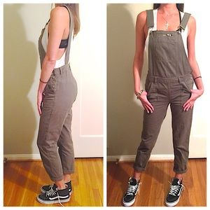 Top shop army khaki overalls open back strap