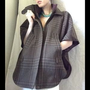 Topshop Houndstooth Pancho Fall Winter Coat Vest