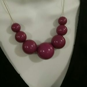 Jewelry - PLUM PURPLE BOLD BALL NECKLACE!!