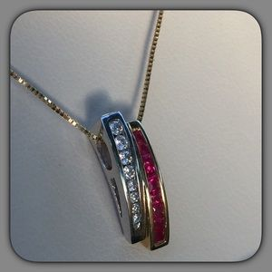 Jewelry - 14k Diamond & Ruby Slider Necklace