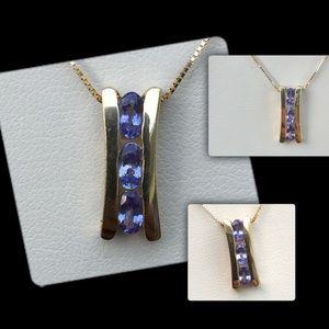 Jewelry - 14k Gold Tanzanite Slider Necklace