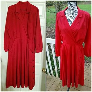 Red Flair Side Button Vintage  Maxi Dress
