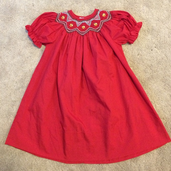 rosalina smocked red christmas dress 2t boutique