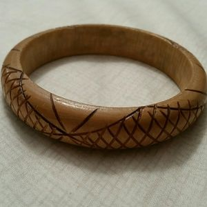 Carved Pattern Wooden Bangle