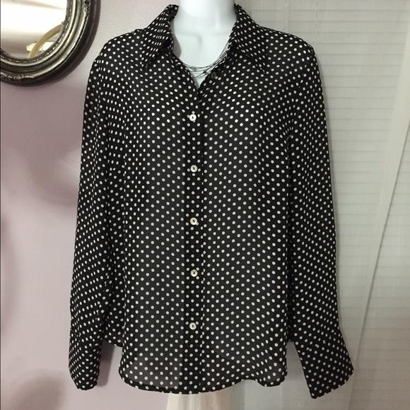 7ebb284155860 Laura Clement Tops - Elegant Black   White Polka Dot Blouse NWOT