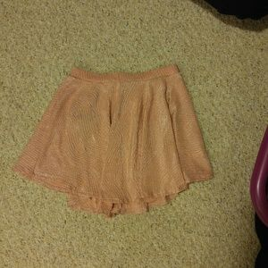 Pale pink and gold skater skirt