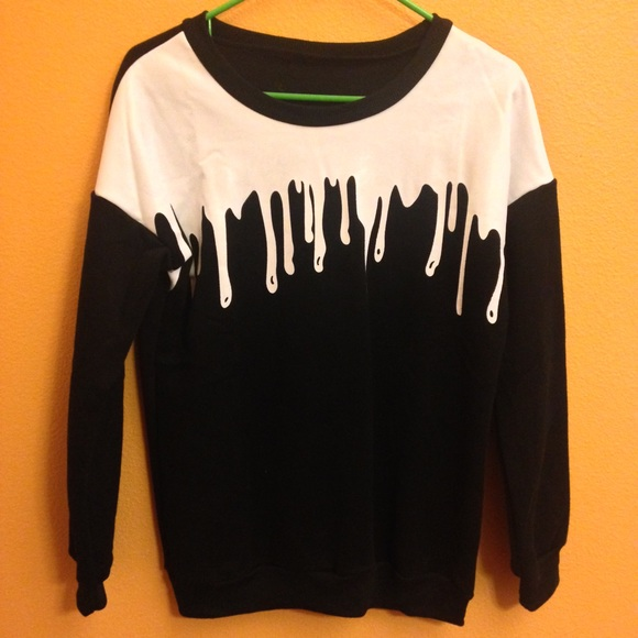 Sweaters Black White Paint Drip Harajuku Japanese Pullover Poshmark
