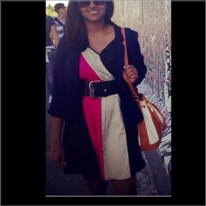 Pink/beige/black dress