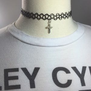 Cross Tattoo Choker Necklace