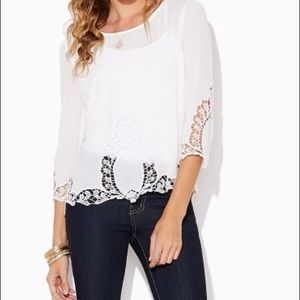 Tops - White White Crocheted Accent Blouse Size L