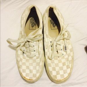 Checkered Gray and White Vans Used Skater Shoes
