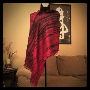 SALE Hand Dyed Wine Red Natural Silk Poncho Scarf