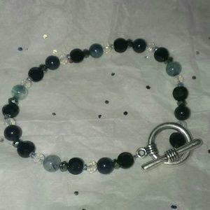 Handmade glass bead toggle bracelet