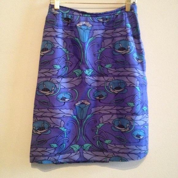 Vintage  Dresses & Skirts - SALE Vintage 1970s blue patterned skirt