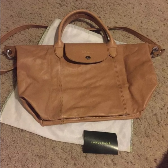 Longchamp Small Le Pliage Cuir Natural Leather