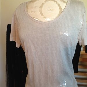 Champagne color simple sequin top