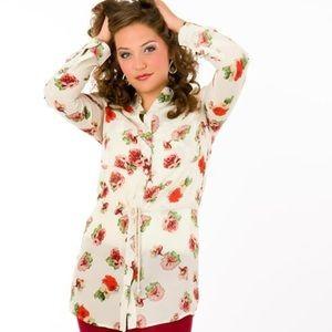 Miss Me Floral Tie Shirtdress w Lace Detail Cream