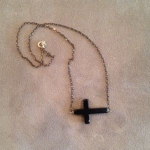 Black and gold cross necklace