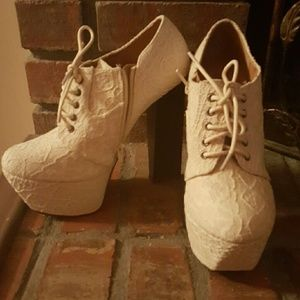 Winter white lace ankle boots